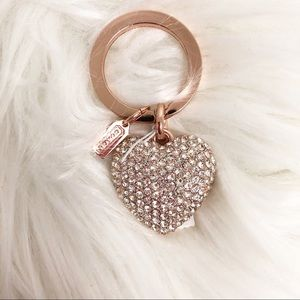 Coach Heart Rose Gold Rhinestone Key Chain